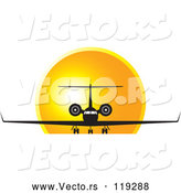 Vector of Black and White Airplane Against a Sunset by Lal Perera