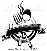 Vector of Black and White Dining and Restaurant Menu Silverware Banner and Plate by Vector Tradition SM