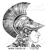 Vector of Black and White Engraved Greek Warrior Lady Athena, Hera, or Britannia in Profile by AtStockIllustration
