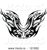 Vector of Black and White Flaming Demon Motorcycle Biker Handlebars by Vector Tradition SM