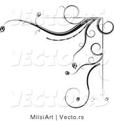 Vector of Black and White Floral Corner Border Design Element Version 2Black and White Floral Corner Border Design Element Version 2 by MilsiArt