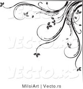Vector of Black and White Floral Corner Border Design Element Version 5 by MilsiArt