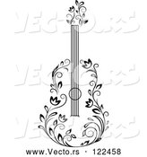 Vector of Black and White Floral Guitar 3 by Vector Tradition SM