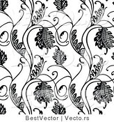 Vector of Black and White Floral Hatch Vines - Seamless Digital Background by BestVector