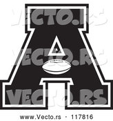 Vector of Black and White Football Letter a by Johnny Sajem