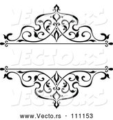 Vector of Black and White Ornate Vintage Floral Frame Design Element with Text Space 4 by Vector Tradition SM