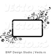 Vector of Black and White Rectangular Background Frame with Vines and Butterflies by BNP Design Studio