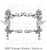 Vector of Black and White Rectangular Vintage Floral Vine Frame with Blank Text Box by BNP Design Studio