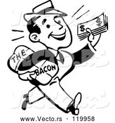 Vector of Black and White Retro Guy Taking Home the Bacon by BestVector
