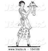 Vector of Black and White Retro Lady Carrying Plum Pudding on a Plate by Picsburg