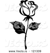 Vector of Black and White Rose Flower 16 by Vector Tradition SM
