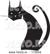 Vector of Black and White Woodcut Black Cat Sitting and Looking Back by Xunantunich