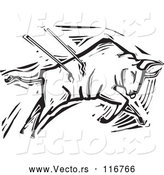 Vector of Black and White Woodcut Bullfighting Bull Stabbed with Spears by Xunantunich