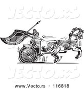 Vector of Black and White Woodcut Charging Viking Valkyrie and Horse Chariot by Xunantunich