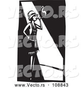 Vector of Black and White Woodcut Flapper Girl Smoking a Cigarette in a Spot Light by Xunantunich