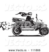 Vector of Black and White Woodcut Woman Wearing a Scarf and Driving an Antique Model T Car by Xunantunich