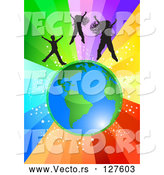 Vector of Black Girls and a Boy Jumping Above Planet Earth over a Starry Rainbow Burst Background by MilsiArt