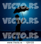 Vector of Black Silhouetted Lady Holding an Umbrella Under a Night Sky by Dero
