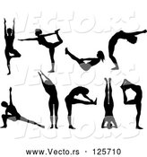 Vector of Black Silhouetted Women Doing Yoga Poses - Collage by KJ Pargeter