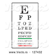 Vector of Black, White, Green and Red Eye Chart by Pams Clipart