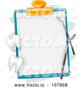 Vector of Blank Dental Chart on a Clipboard with Tools and Teeth by BNP Design Studio