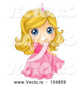 Vector of Blond Princess Girl Wearing Pink Gown with Sash by BNP Design Studio