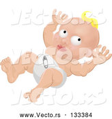 Vector of Blond White Baby in a Nappy Diaper by AtStockIllustration