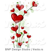 Vector of Blooming Love Hearts Vine Background Border by BNP Design Studio