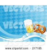 Vector of Blue Diamond Oktoberfest Background of Beer and a Soft Pretzel on a Banner by Pushkin