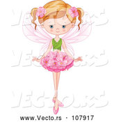 Vector of Blue Eyed, Dirty Blond White Fairy Girl with a Flower Skirt and Leaf Top by Pushkin
