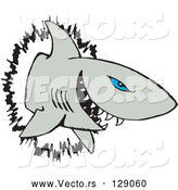Vector of Blue Eyed Shark Crashing Through a Wall by Dennis Holmes Designs