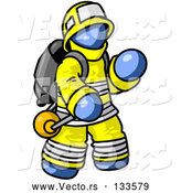Vector of Blue Firefighter in a Uniform, Fighting a Fire by Leo Blanchette