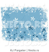 Vector of Blue Floral Grunge Background Design with Tall Flowers and White Bordered Edges by KJ Pargeter