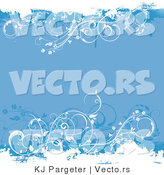 Vector of Blue Floral Vines - Grunge Background Design with Copyspace by KJ Pargeter