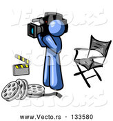 Vector of Blue Man Filming a Movie Scene with a Video Camera in a Studio by Leo Blanchette