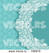 Vector of Blue White and Turquoise Damask Floral Wedding Invitation Background by KJ Pargeter