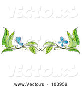 Vector of Border of Green Leaves and Blue Butterflies by Graphics RF