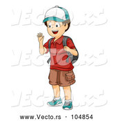 Vector of Boy Waving and Wearing a Backpack by BNP Design Studio