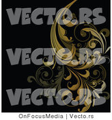 Vector of Brown Floral Scrolls and Vines over Black Background Design by OnFocusMedia