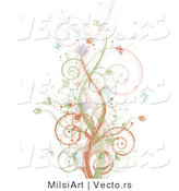 Vector of Brown, Green and Pink Vines Along with Splatters and Butterflies - Background Design by MilsiArt