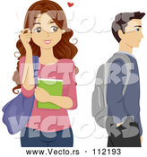 Vector of Brunette High School Teen Girl Crushing on a Male Classmate by BNP Design Studio