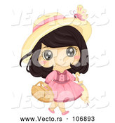 Vector of Brunette White Girl Carrying a Picnic Basket and Umbrella by BNP Design Studio