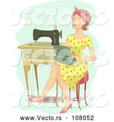 Vector of Brunette White Lady Sitting with a Box by a Vintage Sewing Machine by BNP Design Studio