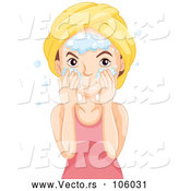 Vector of Brunette White Lady Washing Her Face by Graphics RF