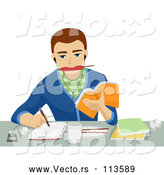 Vector of Brunette White Male Student Eating, Writing, Listenting to Music and Studying by BNP Design Studio