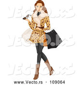 Vector of Brunette White Woman Wearing a Fur Coat and Shopping by BNP Design Studio