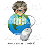 Vector of Business Man over a Globe with a Computer Mouse by Graphics RF