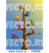 Vector of Businessmen on Tree Branches by Prawny