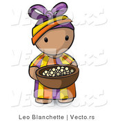 Vector of Cartoon African Girl Carrying Wood Bowl Filled with Food by Leo Blanchette