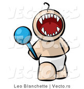 Vector of Cartoon Baby Screaming with Fangs Showing While Holding Rattle Toy by Leo Blanchette